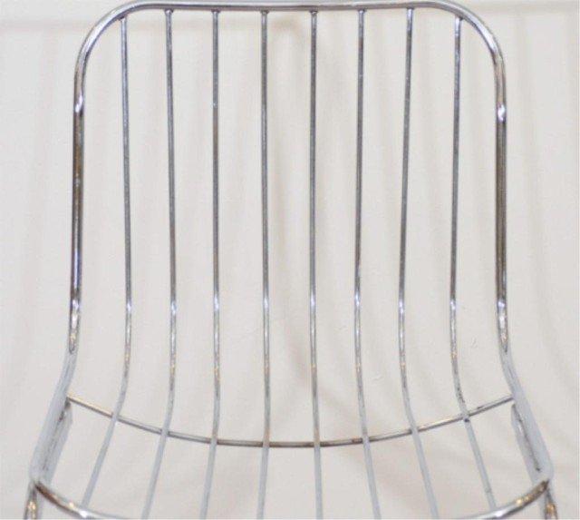 22: Pair of Mid Century Tubular Chrome Frame Chairs - 5