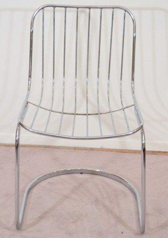 22: Pair of Mid Century Tubular Chrome Frame Chairs - 6
