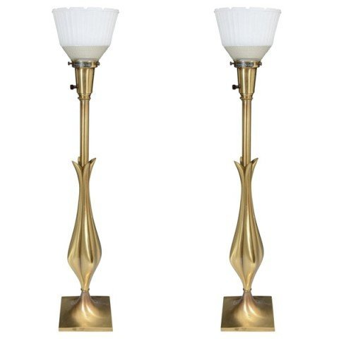 23: Pair Mid Century Flower Form Table Lamps Stiffel
