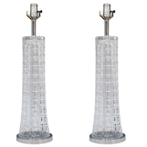 24: Pair of Mid Century Clear Cut Glass Table Lamps
