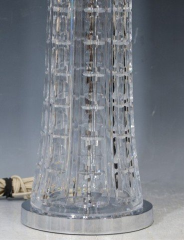 24: Pair of Mid Century Clear Cut Glass Table Lamps - 5