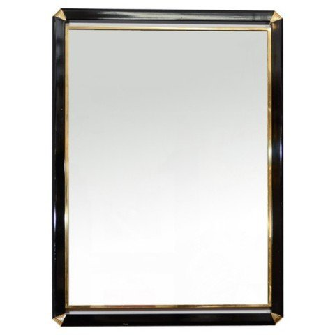 25: Mid Century Brass Enameled Mirror Attr Mastercraft