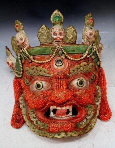 159: Large Begtse Dharmapala Mongolian Coral Mask