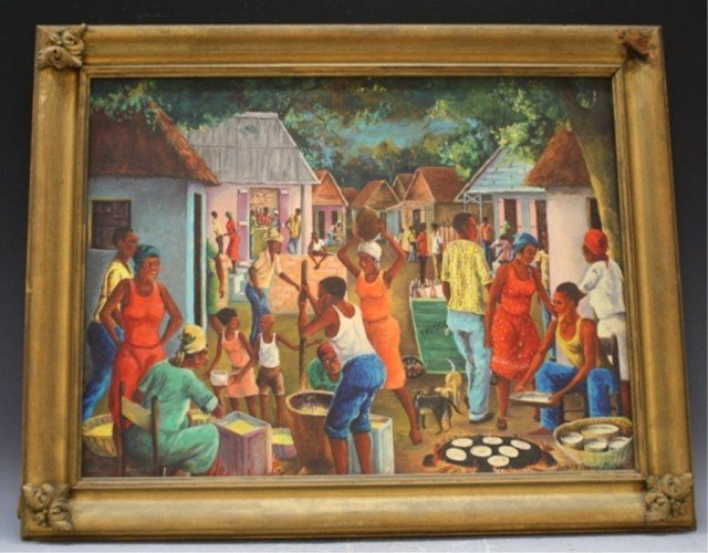 392: Haitian Painting of Village Scene Joseph T. Moise
