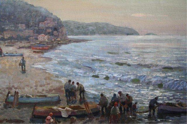 """409: Federico Morello Painting """"Spiaggia di Noli"""" - 4"""