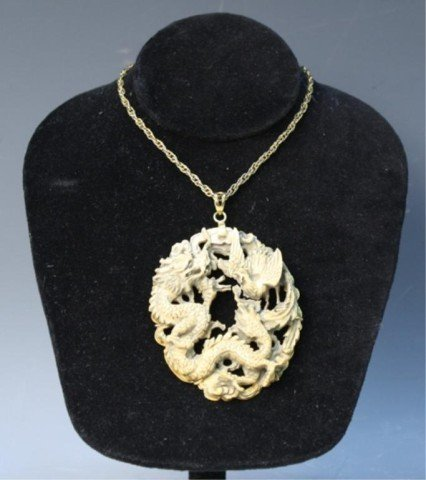 496: Chinese Large Ivory Dragon Rooster Pendant Jewelry - 10