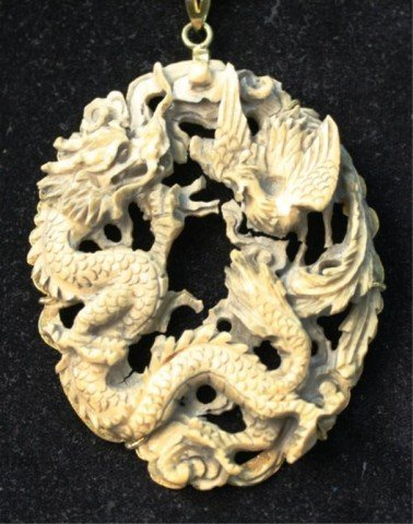 496: Chinese Large Ivory Dragon Rooster Pendant Jewelry