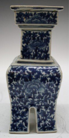 4: Chinese Blue & White Porcelain Footed Censer Qing