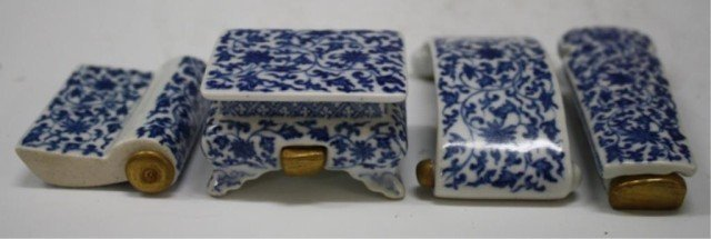 6: Set of 4 Chinese Blue & White Porc. Snuff Bottles