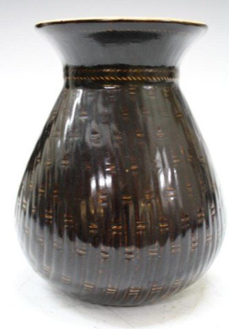 12: Chinese Pouch Form Rare Brown Dingyao Vase