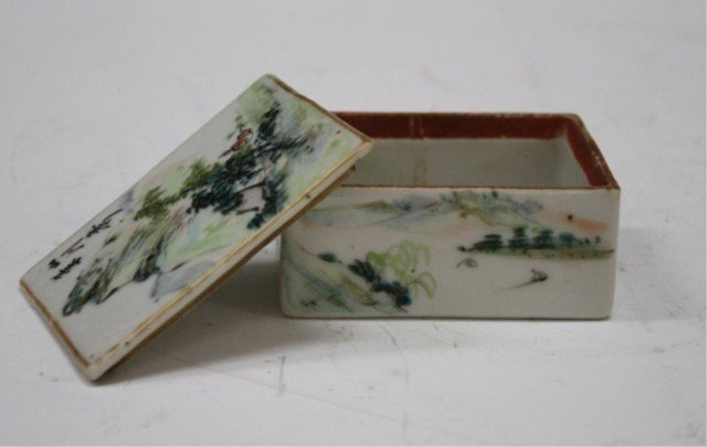 24: Chinese Small White Porcelain Box w Mountain & Lid