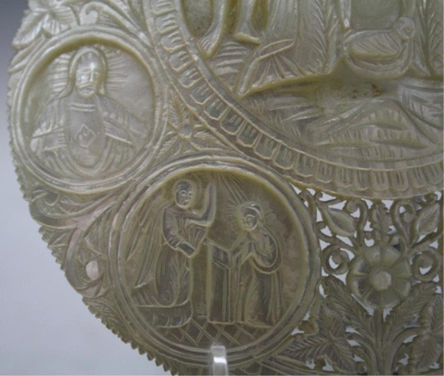 78: Antique Mother of Pearl Carved Nativity Scene Icon - 3