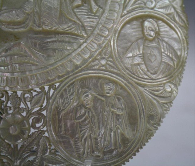 78: Antique Mother of Pearl Carved Nativity Scene Icon - 4