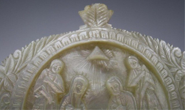 78: Antique Mother of Pearl Carved Nativity Scene Icon - 6