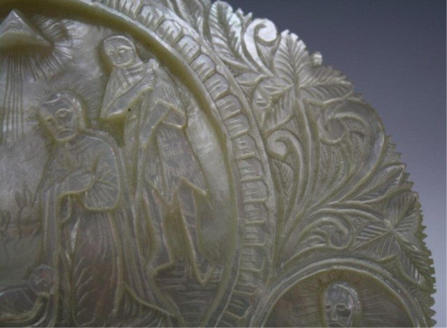 78: Antique Mother of Pearl Carved Nativity Scene Icon - 7