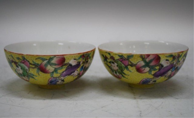 1: Pair of 2 Chinese Yellow Porcelain Bowls w Peaches