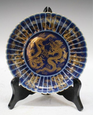 4: Chinese Porcelain Blue & Gold Dragon Plate Dish