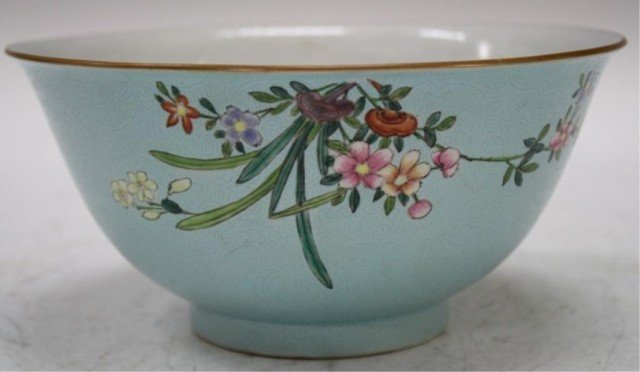 17: Chinese Porcelain Blue Bowl w/ Flowers 19-20th C.