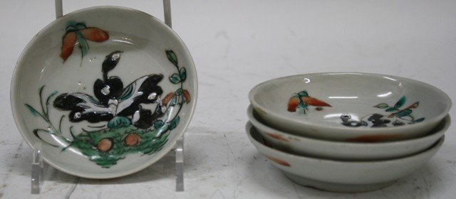18: Chinese Set 4 Porcelain Butterfly Sauce Dishes