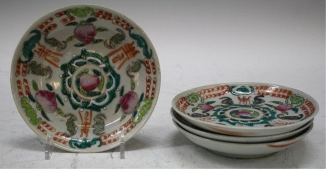 19: Chinese Set of 4 Saucer Dishes w/ Peaches Bats