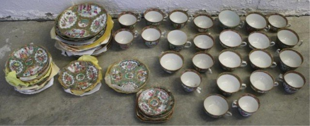 21: Lot of 60 pc. Chinese Rose Medallion Porcelain