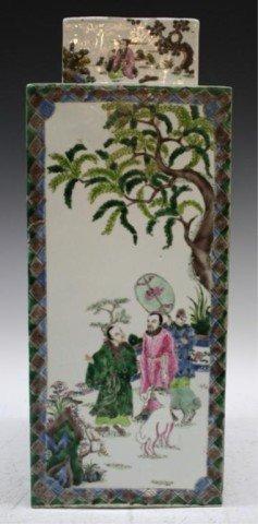 22: Chinese Famille Verte Porcelain Square Vase w/ Lid