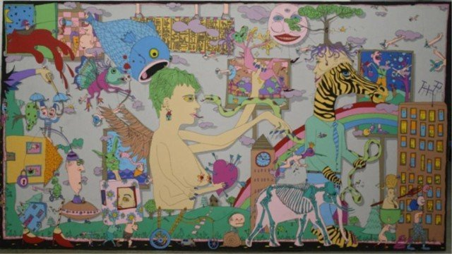 129: Large Fanciful Ptg. Oil on Canvas 1991 Signed Wohr