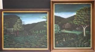130: Set of 2 Haitian Ptgs. H.R. Bresil of Harvesters
