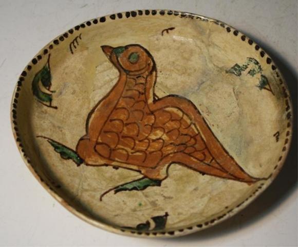 2: Iranian Pottery Dish w/ Bird poss. 18th Cent.