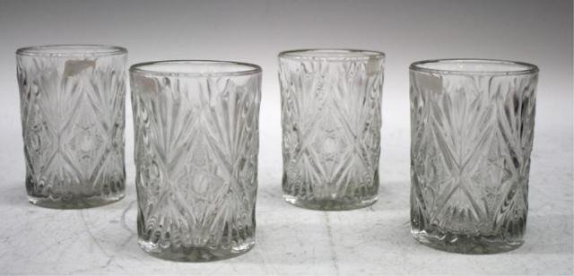 15: Set of 4 European Cut Crystal Glasses 1920s