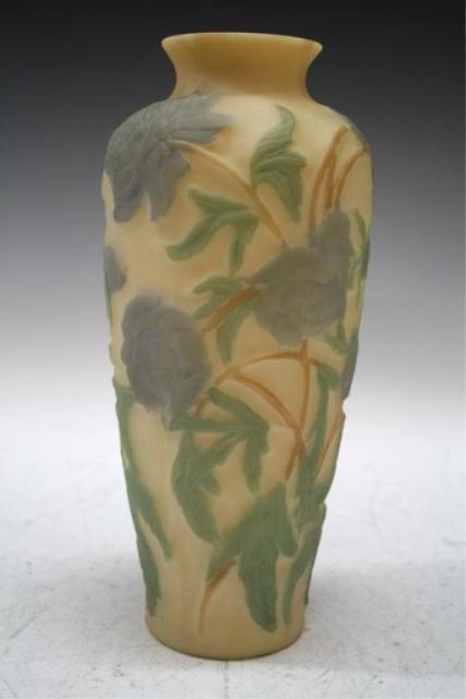 17: Yellow Ground Phoenix Glass Vase w/ Flowers