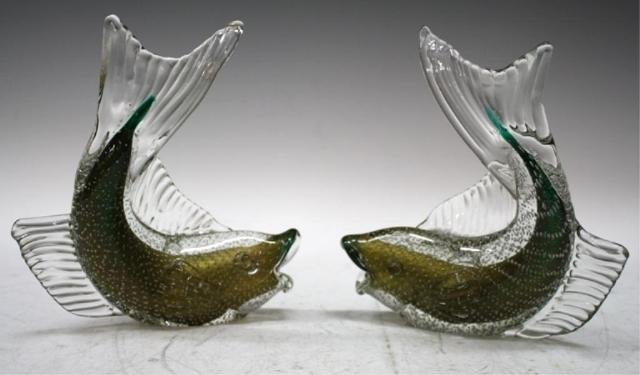 19: Pair of Dino Martens Italian Glass Fish 1950s