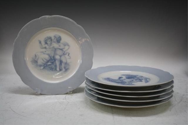 24: German Set of 6 KPM Porcelain Blue & White Plates