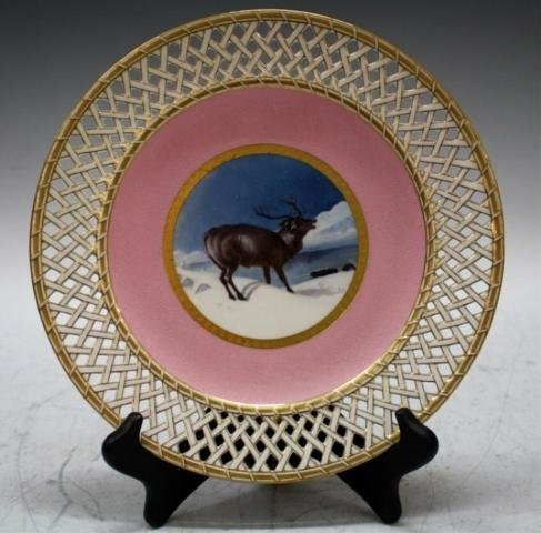 25: Antique Minton English Porcelain Deer Plate Dish