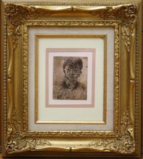 "72: Cezanne ""Tete de Femme"" Etching French 1873"