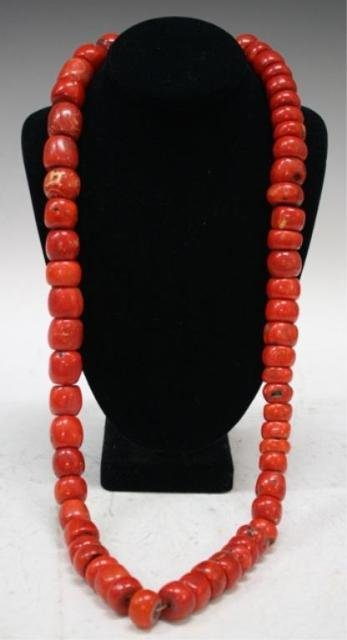 99: Mongolian Strand of Large Coral Beads