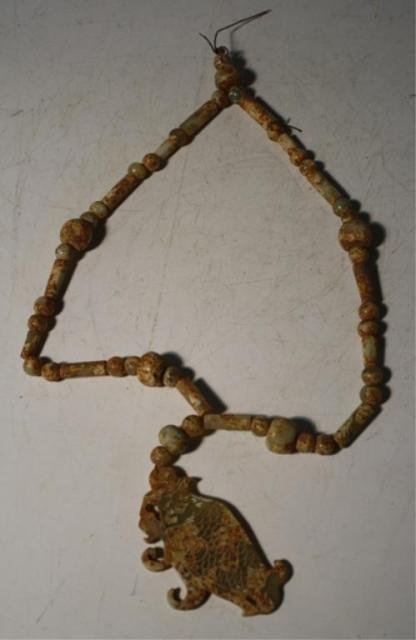 149: Chinese Jade Beaded Necklace w/ Fish Pendant