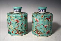 186: Pair of Chinese Famille Rose Tea Caddies 20th C.