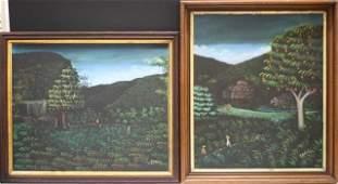 325: Set of 2 Haitian Ptgs. H.R. Bresil of Harvesters