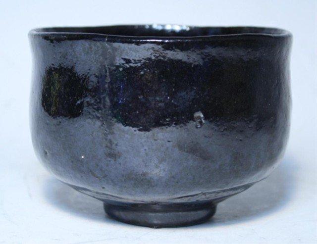 609: Japanese Kuro-raku Tea Bowl by Shunpo