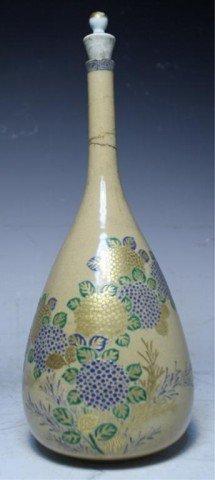 614: Japanese Iro-e Glazed Ceramic Bottle Vase