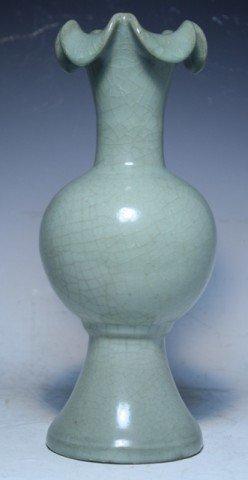 620: Chinese Celadon Footed Bottle Vase