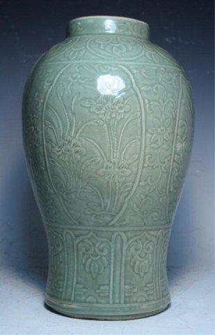 622: Chinese Celadon Floral Jar