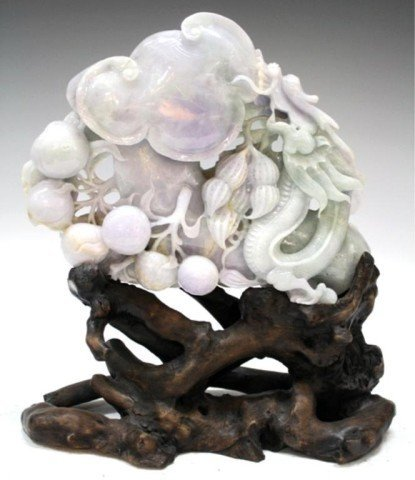 2: Chinese Jade Carving of Fruit and Dragon