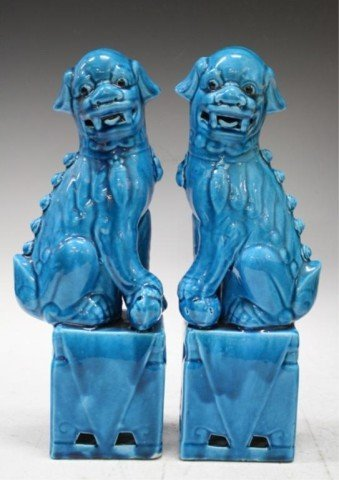 160: Pair of Chinese Ming Blue Porcelain Foo Dogs