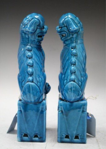 160: Pair of Chinese Ming Blue Porcelain Foo Dogs - 2