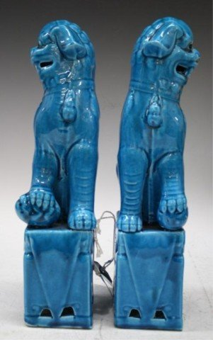 160: Pair of Chinese Ming Blue Porcelain Foo Dogs - 3