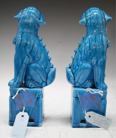 160: Pair of Chinese Ming Blue Porcelain Foo Dogs - 4