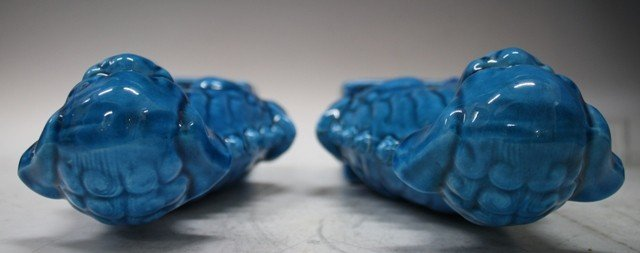 160: Pair of Chinese Ming Blue Porcelain Foo Dogs - 5