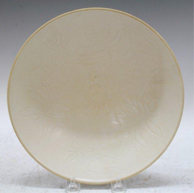 Chinese White Glazed Impressed Dish